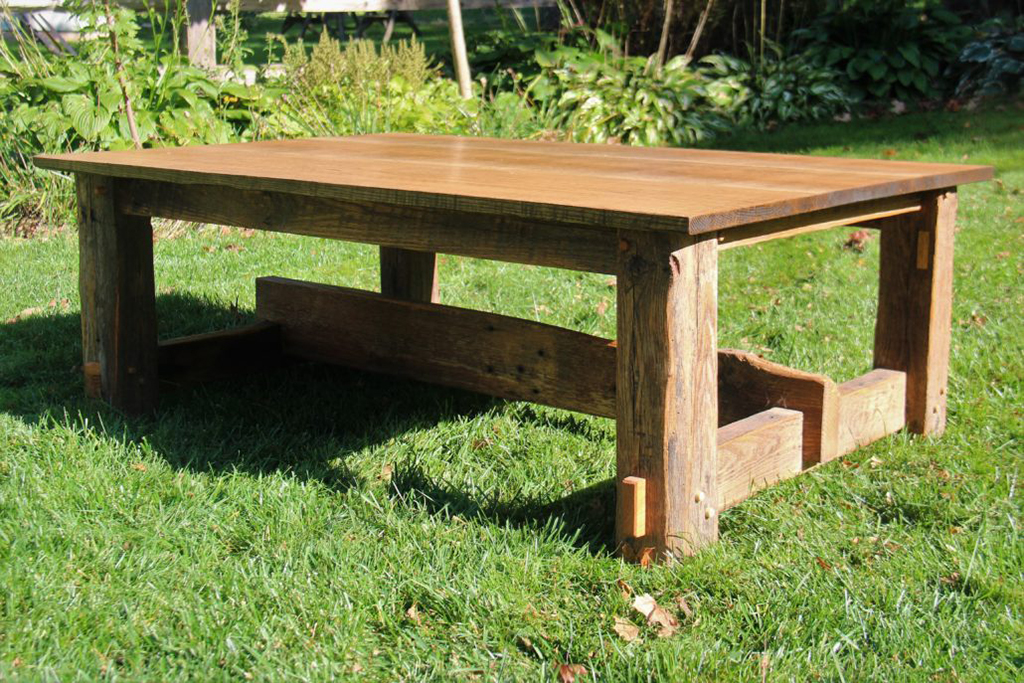 Reclaimed Barn Wood Coffee Table with Through Tenons. Red and White Oak.
