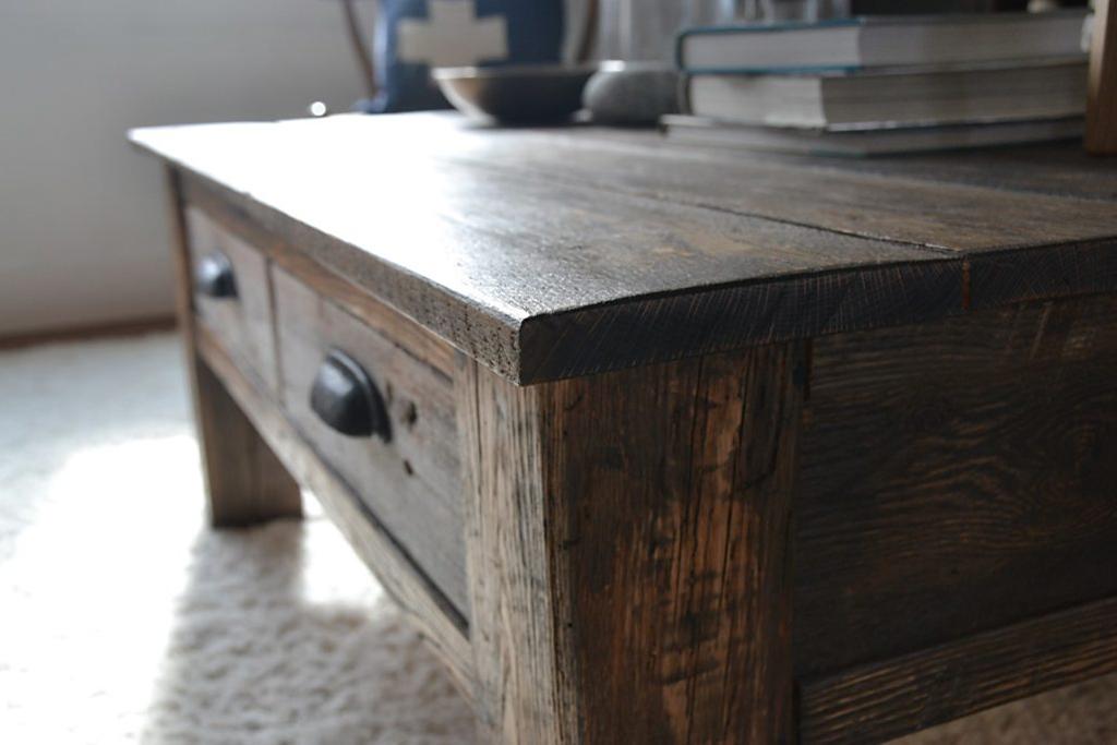 Reclaimed Barn Wood Coffee Table. Red Oak/Pine
